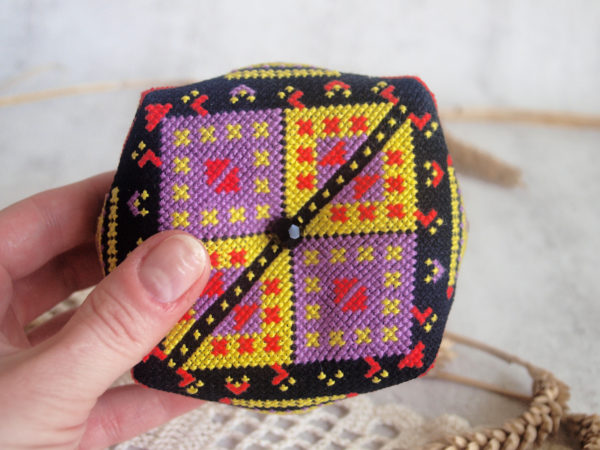 cross stitch African ornament biscornu pincushion