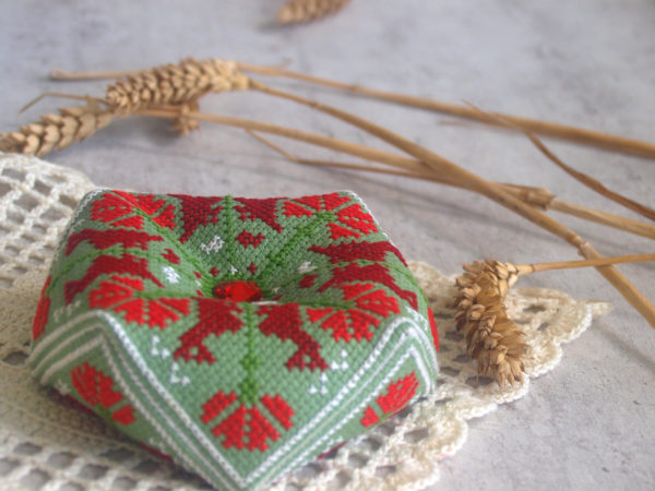 cross stitch green Scandinavian pattern biscornu pincushion
