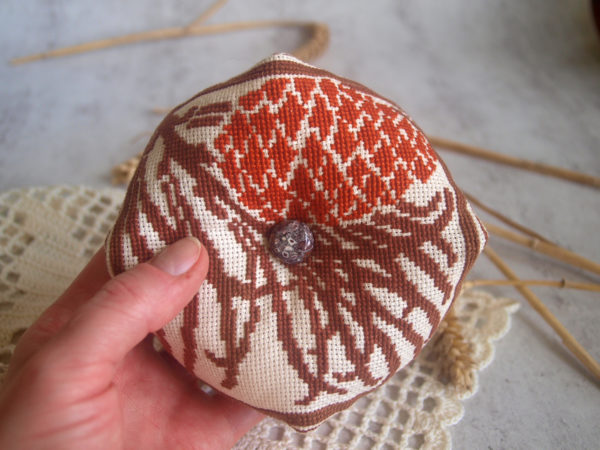 cross stitch pine cone biscornu pincushion
