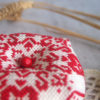 cross stitch red rustic biscornu pincushion