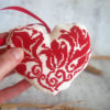 cross stitch flower heart red biscornu pincushion