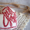 cross stitch heart just for you red biscornu pincushion