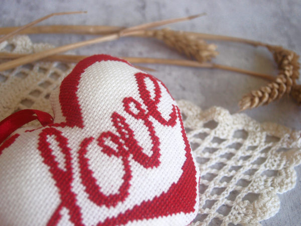 cross stitch heart love red biscornu pincushion