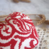 cross stitch heart red biscornu pincushion