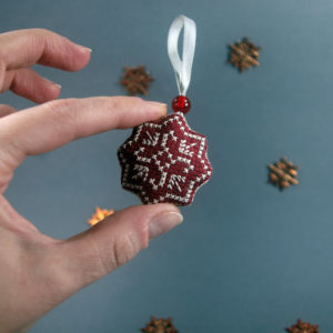 Cross Stitch Red Snowflake Ornament