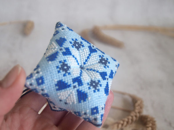 cross stitch tulip flower blue biscornu pincushion