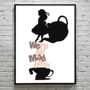 Alice in wonderland silhouette cross stitch pattern