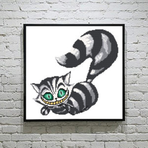 Cheshire cat Alice in wonderland silhouette cross stitch pattern