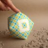 Large geometric cross stitch biscornu pincushion