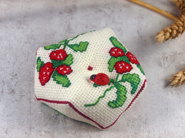 cross stitch biscornu strawberries