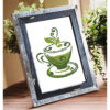 Green tea cup cross stitch pattern