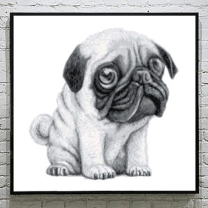 Hug a Pug Cross Stitch Pattern