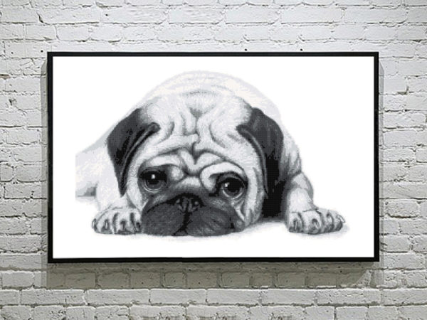 Cute baby pug cross stitch Pattern
