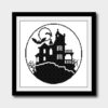 Halloween castle cross stitch pattern