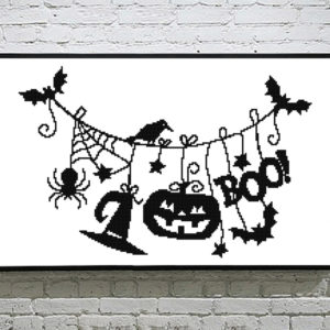 Halloween Line Cross Stitch Pattern