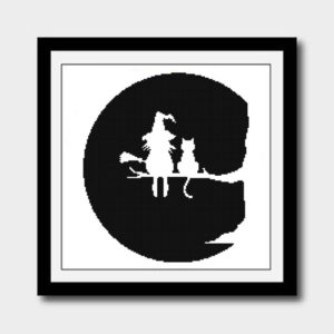 Halloween witch and cat cross stitch pattern