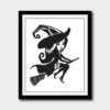 Halloween witch on a broom cross stitch pattern