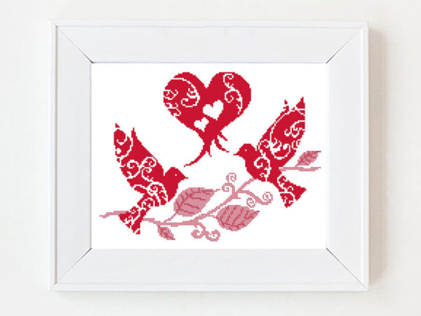 Heart and doves cross stitch pattern