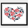 Heart roses cross stitch pattern