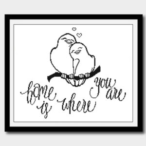 Home is where you are doves cross stitch pattern