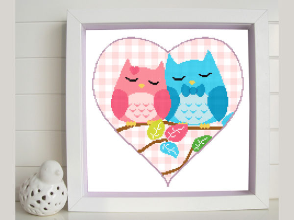 Owl couple cross stitch pattern