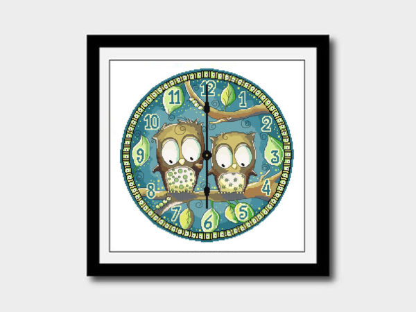 Owl clock cross stitch pattern