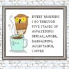 Owl and Coffee cross stitch pattern