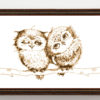 Owls in love cross stitch pattern