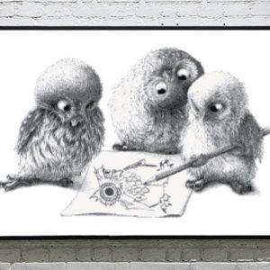 Three Owls Drawing Cross Stitch Pattern