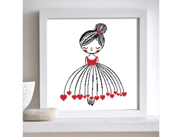 girl with hearts cross stitch pattern