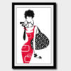 Lady with a bag cross stitch pattern