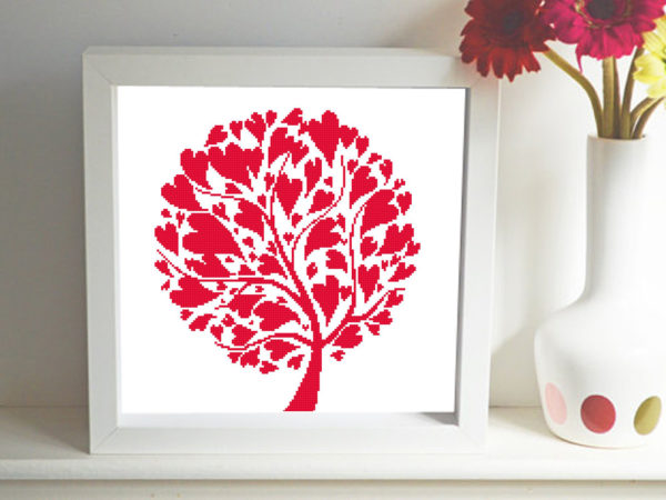 Heart tree cross stitch pattern