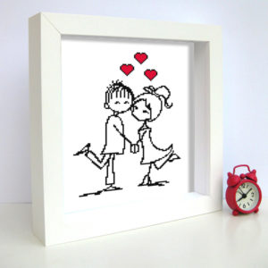 couple-in-love cross stitch pattern