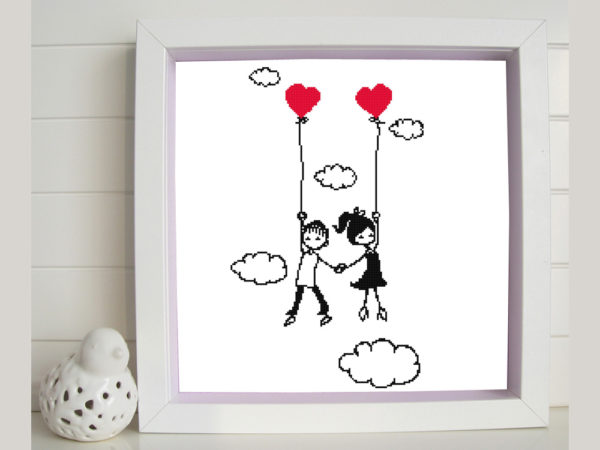 Couple in the sky cross stitch pattern