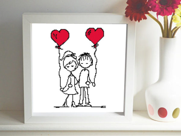 Couple with balloons cross stitch pattern